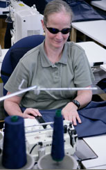 Photo of blind woman working